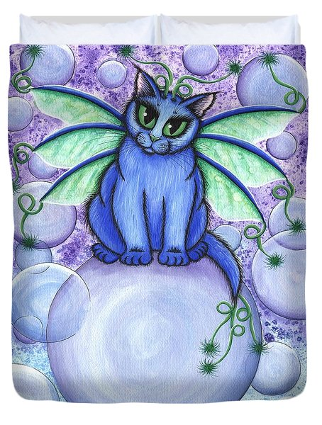Duvet Cover featuring the painting Bubble Fairy Cat by Carrie Hawks