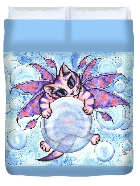 Bubble Fairy Kitten Duvet Cover by Carrie Hawks