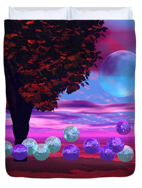 Duvet Cover featuring the digital art Bubble Garden by Diane Clancy