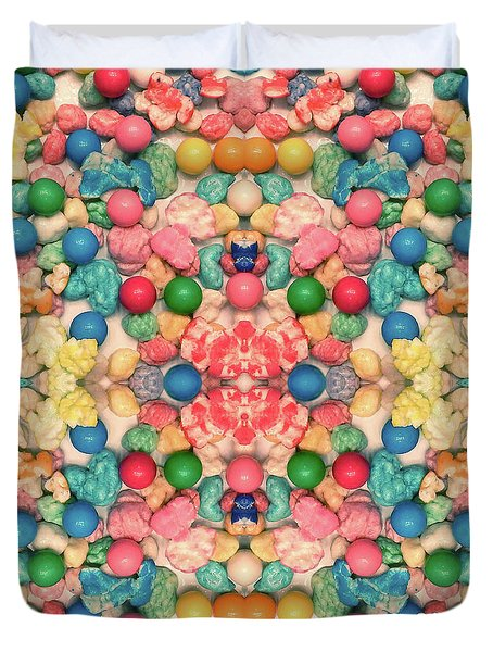 Duvet Cover featuring the digital art Bubble Gum #9776 by Barbara Tristan