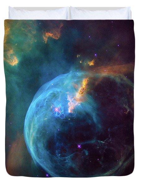Duvet Cover featuring the photograph Bubble Nebula by Marco Oliveira