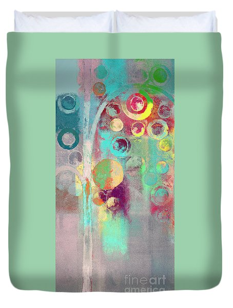 Duvet Cover featuring the digital art Bubble Tree - 285r by Variance Collections