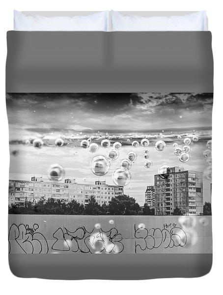 Bubbles And The City Duvet Cover by John Williams