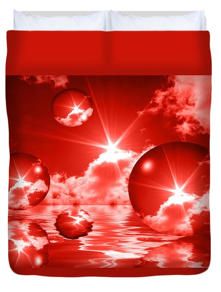 Duvet Cover featuring the photograph Bubbles In The Sun - Red by Shane Bechler