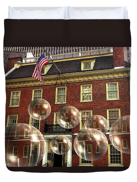 Bubbles Of New York History - Photo Collage Duvet Cover