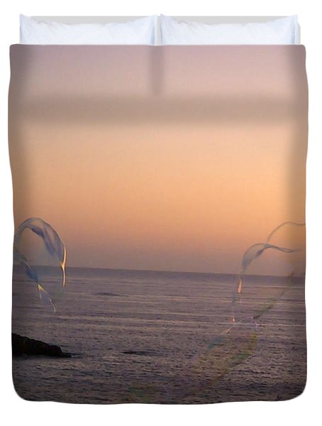 Bubbles On The Beach Duvet Cover