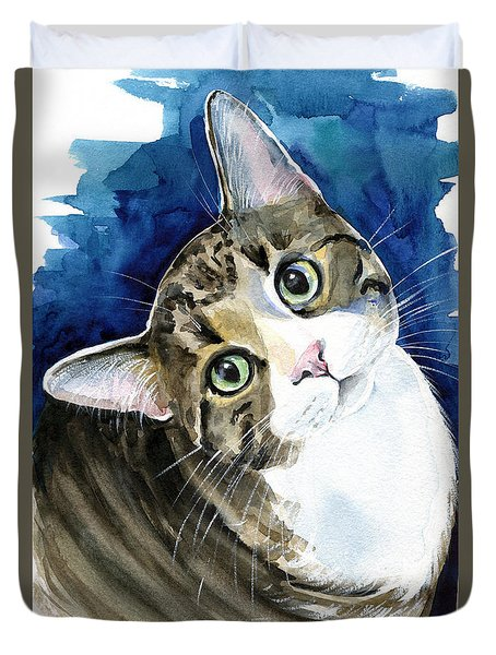 Bubbles - Tabby Cat Painting Duvet Cover