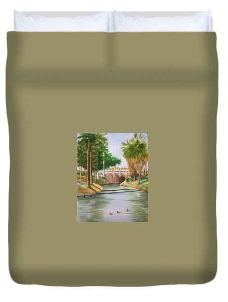 Duvet Cover featuring the painting Bubbling Springs Park by Teresa Beyer
