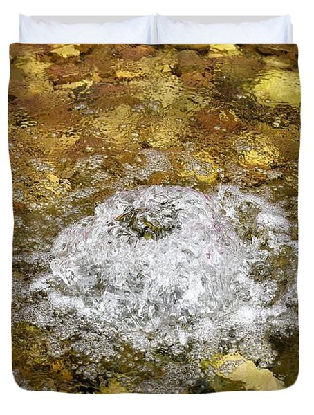 Bubbling Water In Rock Fountain Duvet Cover