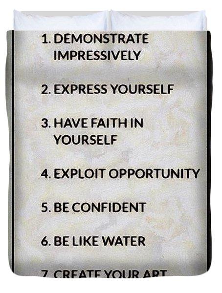 Buce Lee 10 Rules Of Success Duvet Cover