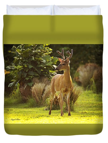 Duvet Cover featuring the photograph Buck by Angel Cher