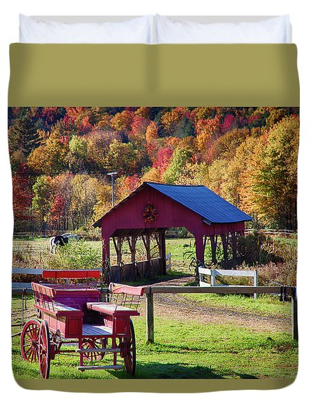Duvet Cover featuring the photograph Buck Board Ready For Fall Colors by Jeff Folger