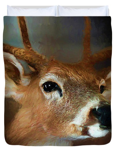 Duvet Cover featuring the photograph Buck by Darren Fisher