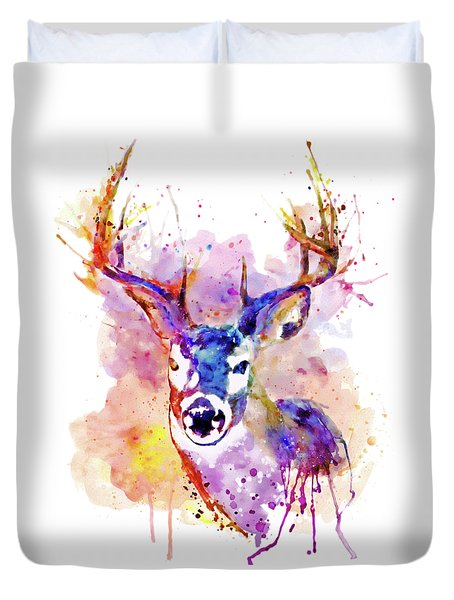 Duvet Cover featuring the mixed media Buck by Marian Voicu