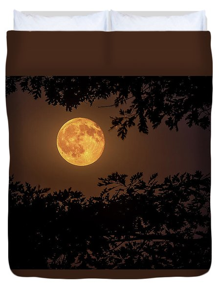 Duvet Cover featuring the photograph Buck Moon 2016 by Everet Regal