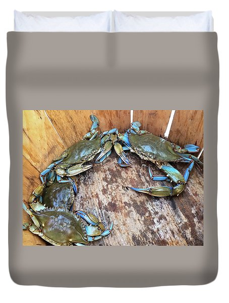 Bucket Of Blue Crabs Duvet Cover