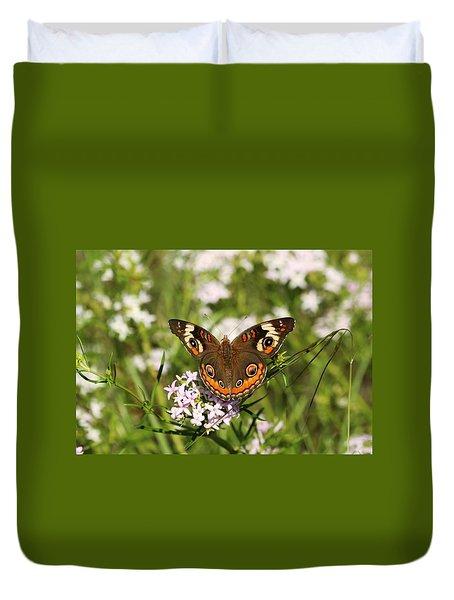 Buckeye Butterfly Posing Duvet Cover
