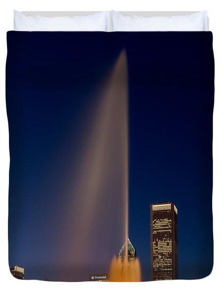 Buckingham Fountain Chicago Duvet Cover by Steve Gadomski