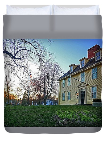 Duvet Cover featuring the photograph Buckman Tavern At Sunset by Wayne Marshall Chase
