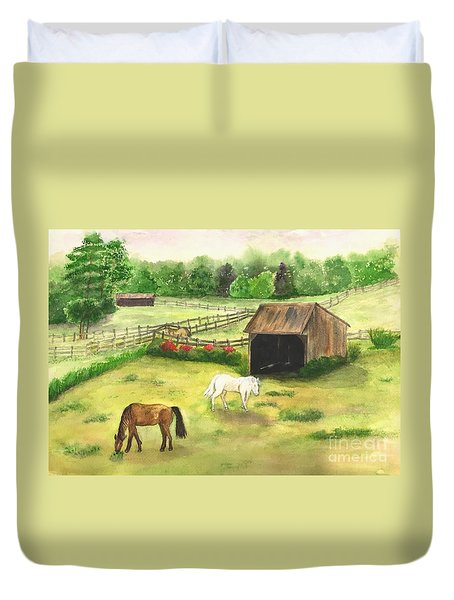 Duvet Cover featuring the painting Bucks County Horse Farm by Lucia Grilletto