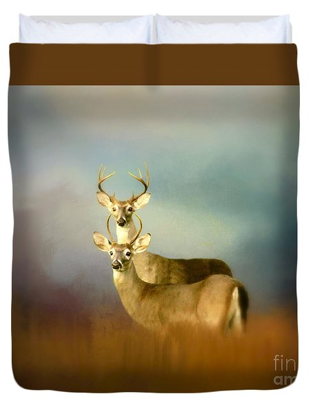 Bucks In The Meadow Duvet Cover by Myrna Bradshaw
