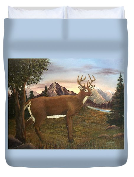 Duvet Cover featuring the painting Buck's Wilderness by Sheri Keith