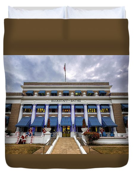Duvet Cover featuring the photograph Buckstaff Bathhouse - Christmas by Stephen Stookey