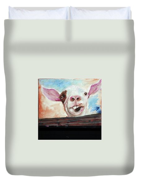 Bucktooth'd Goat Part Of Barnyard Series Duvet Cover