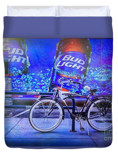 Bud Light Schwinn Bicycle Duvet Cover by Craig J Satterlee