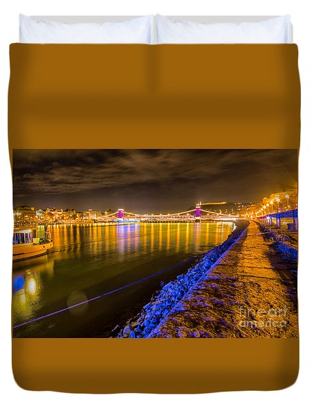 Duvet Cover featuring the photograph Budapest At Night Lanchid Chain Bridge by Jivko Nakev