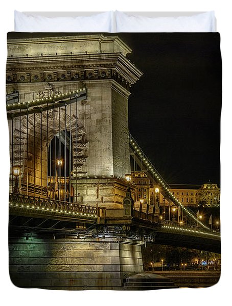 Duvet Cover featuring the photograph Budapest Chain Bridge by Steven Sparks