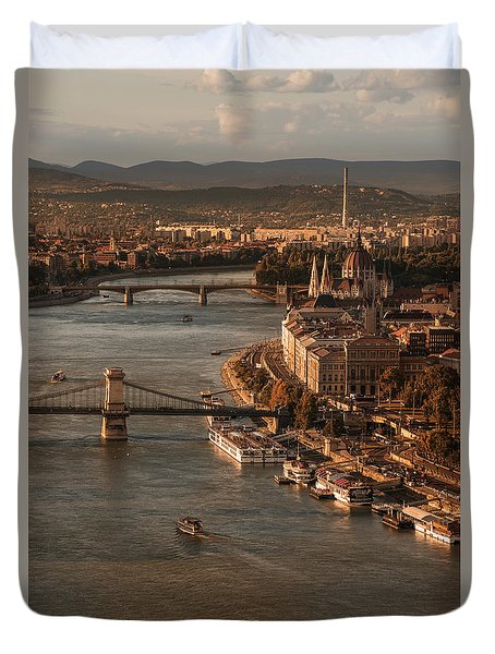 Budapest In The Morning Sun Duvet Cover by Jaroslaw Blaminsky