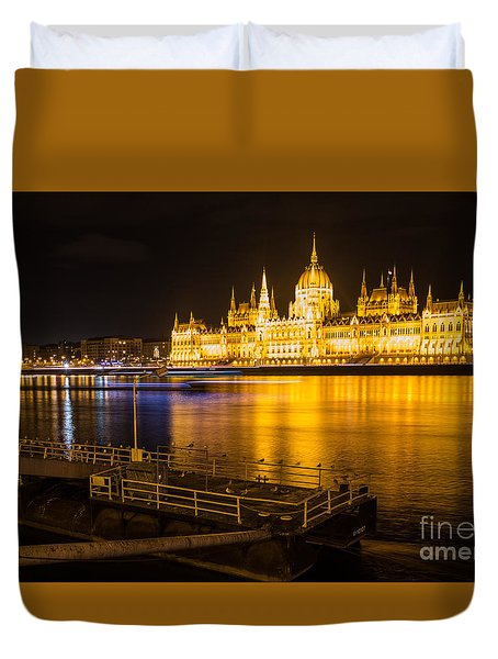 Duvet Cover featuring the photograph Budapest Night View Parliament by Jivko Nakev