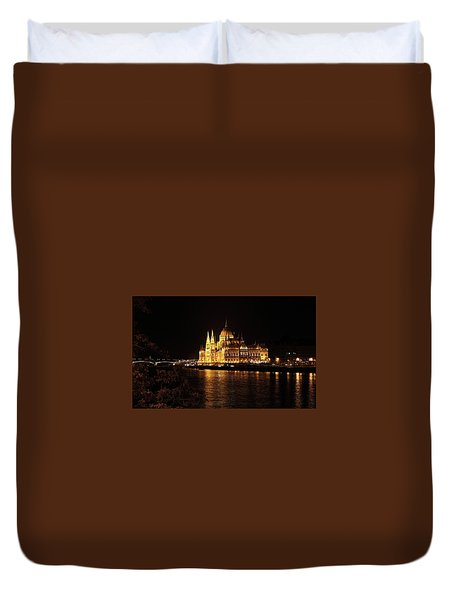 Duvet Cover featuring the digital art Budapest - Parliament by Pat Speirs