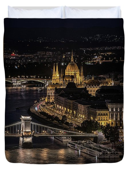 Budapest View At Night Duvet Cover by Jaroslaw Blaminsky