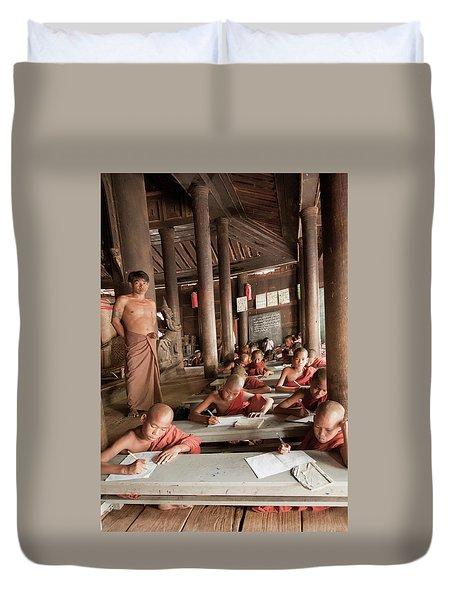 Duvet Cover featuring the photograph Buddah School by Matthew Bamberg