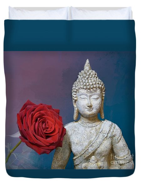 Buddha And Rose Duvet Cover by Pete Trenholm