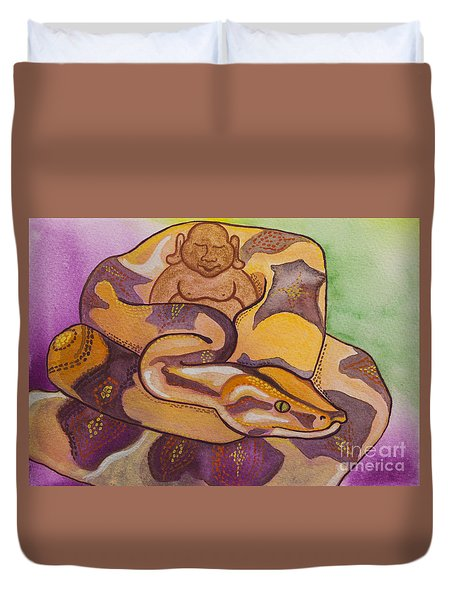 Buddha And The Divine Boa Constrictor No. 2277 Duvet Cover by Ilisa Millermoon