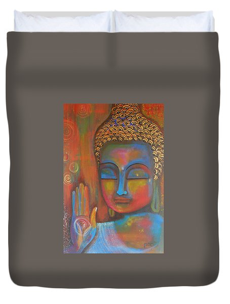 Duvet Cover featuring the painting Buddha Blessings by Prerna Poojara