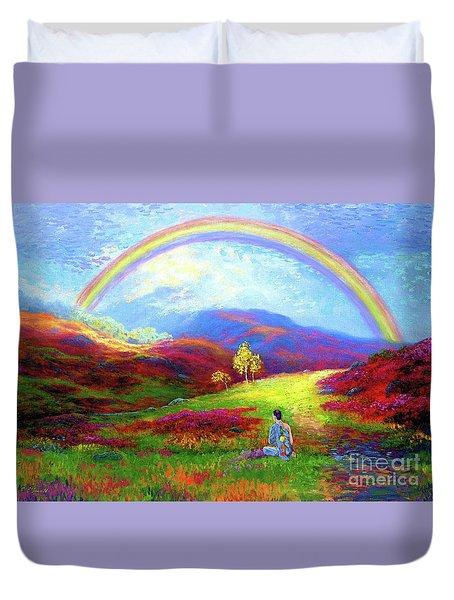 Buddha Chakra Rainbow Meditation Duvet Cover by Jane Small