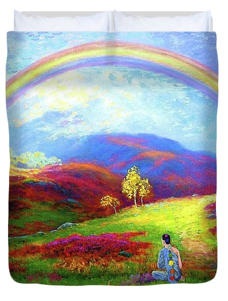 Buddha Chakra Rainbow Meditation Duvet Cover