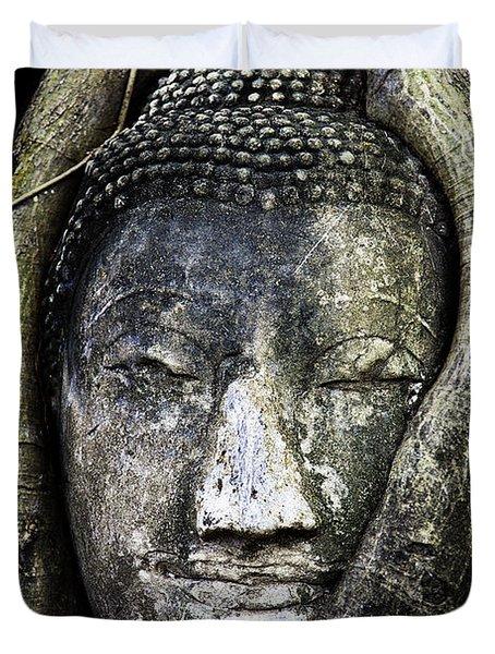 Buddha Head In Banyan Tree Duvet Cover by Adrian Evans