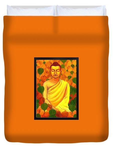 Buddha In Green Leaves Duvet Cover