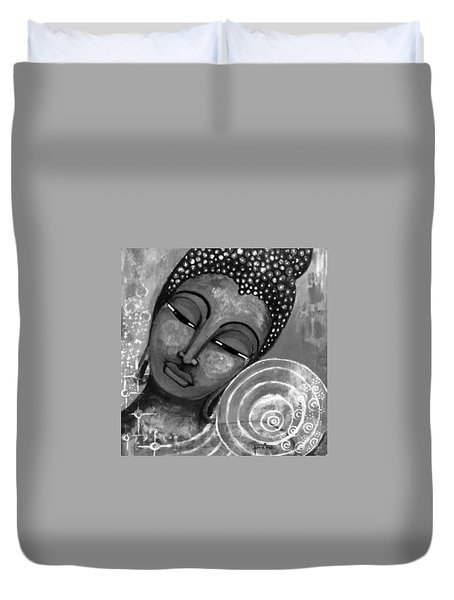 Duvet Cover featuring the mixed media Buddha In Grey Tones by Prerna Poojara