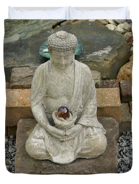 Buddha In The Garden Duvet Cover