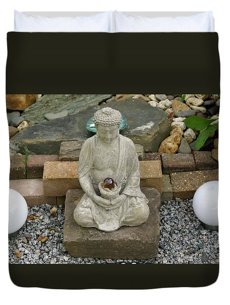 Buddha In The Garden Duvet Cover