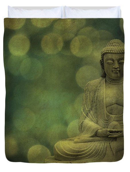 Buddha Light Gold Duvet Cover by Hannes Cmarits