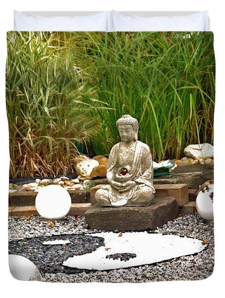 Buddha Looks At Yin And Yang Duvet Cover