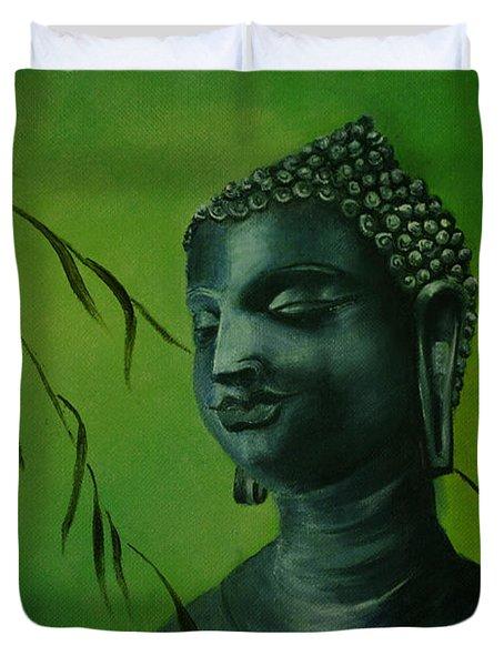 Duvet Cover featuring the painting Buddha by Lynn Hughes