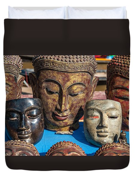 Buddha Masks Hadicrafts Duvet Cover